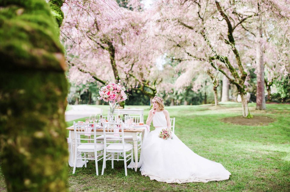 A spring wedding in cherry blossom pink